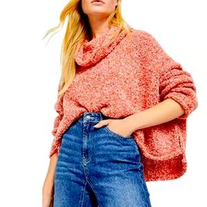 Free People BFF Cowl Neck Scarlet Flame Sweater
